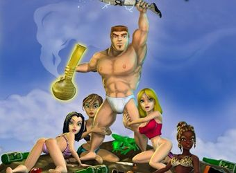 Parodie Erotik Spiel mit Kampf Aktion und Karikatur Sex
