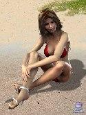 Madchen mit roten bikini am strand